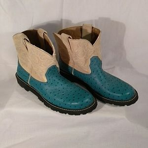 Ariat Fat Baby Western Boots Turquoise & Tan